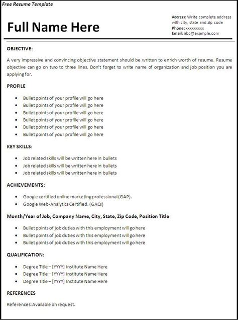 Free Resume Format by Sle Resume Format For Application Diplomatic Regatta