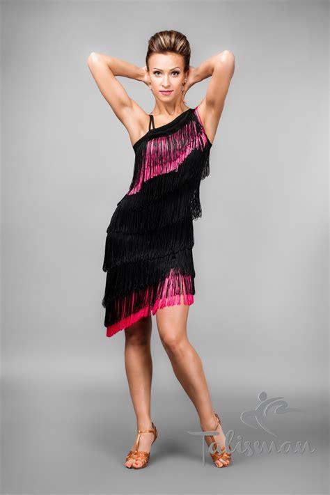 black  pink fringe latin dress
