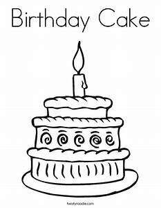 Birthday cake coloring page twisty noodle for Number 1 birthday cake template