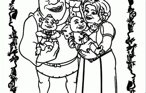 Shrek With Babies Coloring Pages