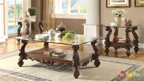 It's a chic, easy design filled with contemporary style and versatility. Versailles Traditional Cherry Oak Round Glass Top Coffee Table
