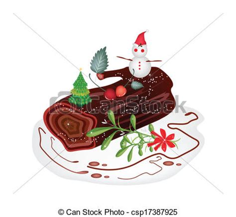 traditional christmas clip set vector illustration of traditional christmas cake or yule log cake a traditional