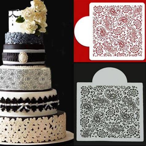 paisley cake decorations paisley flower wedding cake stencil plastic cookie cake