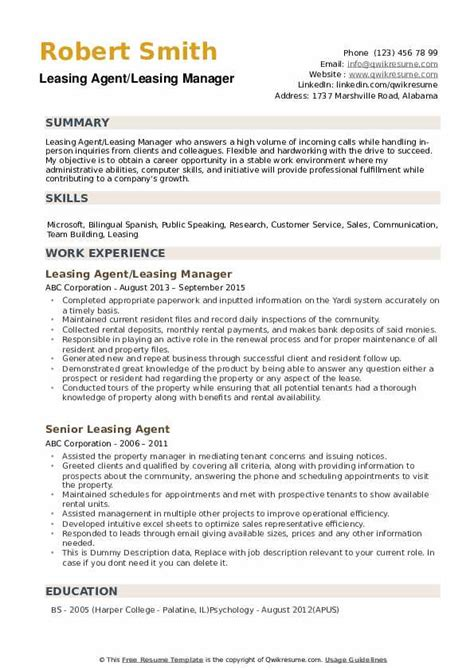 Leasing Consultant Resume by Leasing Resume Sles Qwikresume