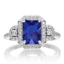 engagement rings 3 3 carat emerald cut sapphire and white halo engagement ring on 10k white gold