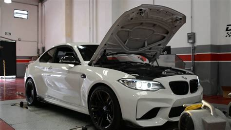 bmw m2 dyno bmw m2 dyno test with tuning box and downpipe vrtuned youtube
