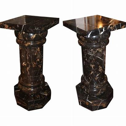 Marble Pedestals Columns Octagonal Pair Bases Antique