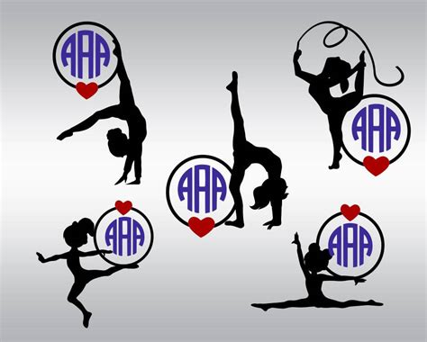 Commercial use fonts & clipart vectors for vinyl cutters. Gymnastic monogram SVG Clipart Cut Files Silhouette Cameo Svg