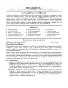 resume project manager software development software development manager resume sle