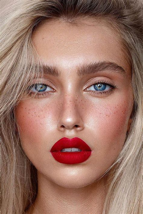 wedding makeup  trends schminke mit roten lippen