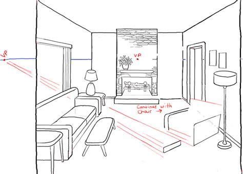 draw  room  perspective drawing tutorial