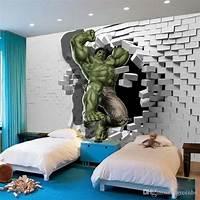 interesting kidsroom wall mural 3d Avengers Photo Wallpaper Custom Hulk Wallpaper Unique Design Bricks Wall Mural Art Room Decor ...