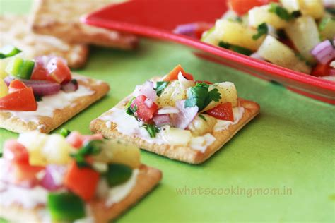 canap駸 recipe pineapple salsa canapes whats cooking