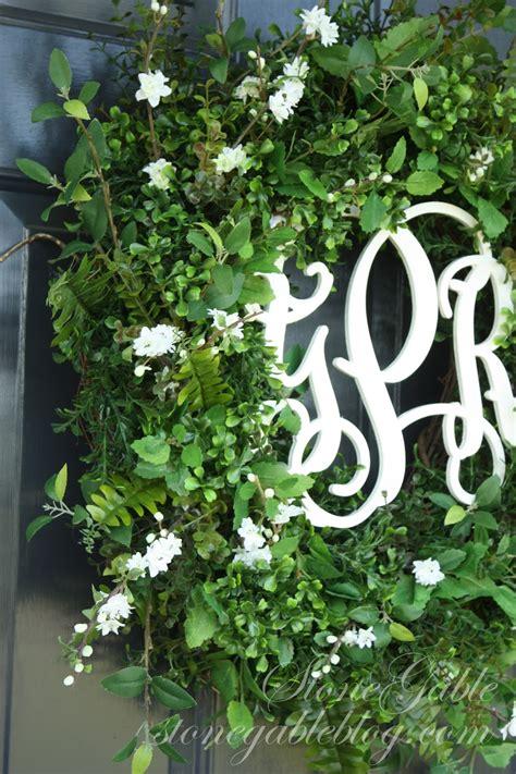 front door wreath summer  stonegable