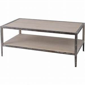 Buy libra distressed wood and metal coffee table from for Distressed metal coffee table