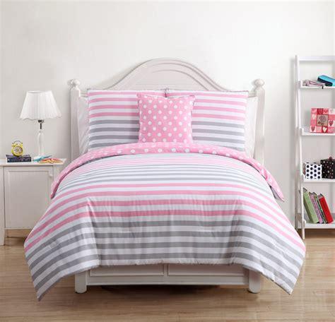 light pink and gray bedding kayla kids pink grey cotton 4 piece comforter set