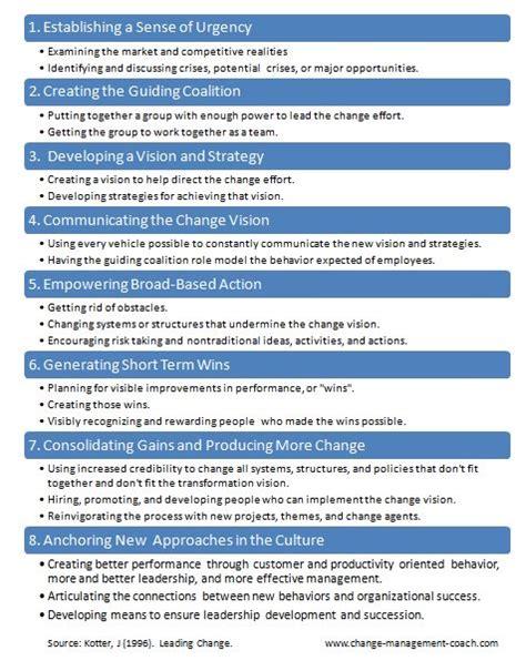 Kotter Change Management Book by John Kotter Updated 8 Step Process Of Change