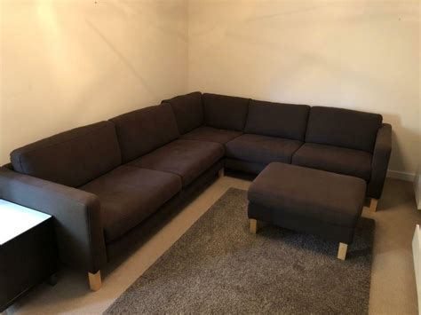 Ikea Karlstad Corner Sofa In Brown With Foot Stool
