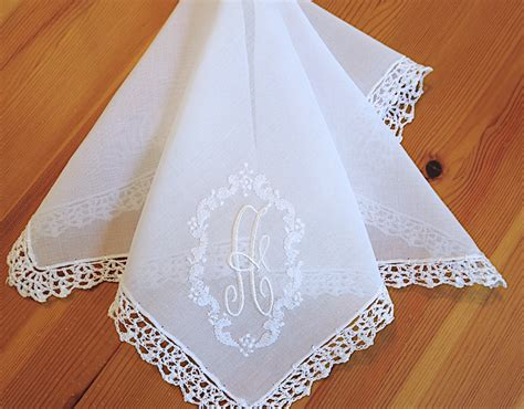 vintage monogrammed handkerchiefs monogram m by vintage inspired extra sheer cotton lace handkerchief with