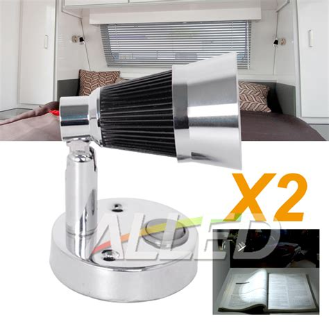2x12v cool white led swivel reading light interior bedside