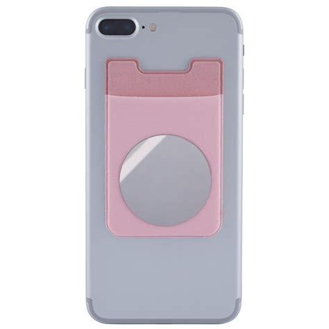 Praktisk korthållare till mobil med fack för kort i ljusrosa lycra. Korthållaren är även försedd ...