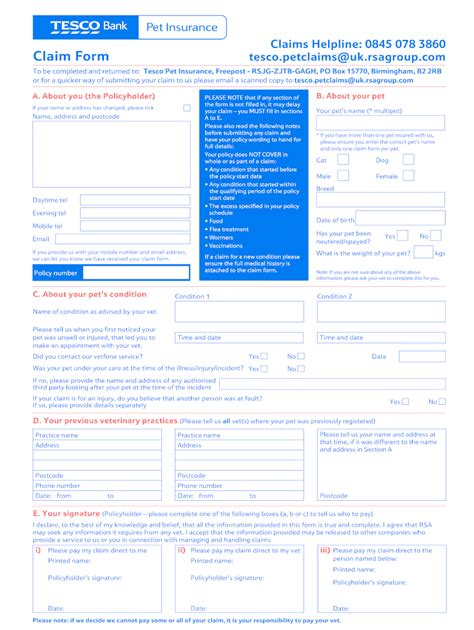 Physical address 1 geico center macon, ga 31201 telephone numbers auto claims: Tesco Pet Insurance Claim Form - Fill Online, Printable ...