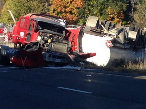 transport truck carrying fuel crashes  hwy  driver