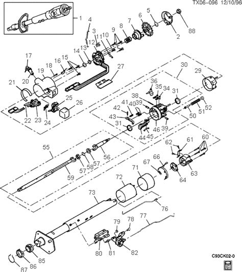 exploded view    chevrolet pickup tilt