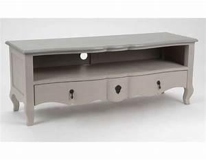 meuble tv bois massif blanc mzaolcom With meuble tv campagne chic