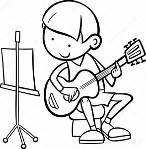 Chico con guitarra Página para colorear — Vector de stock ...