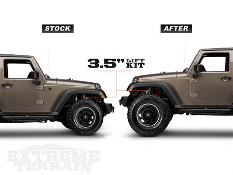 stock jeep vs lifted stock versus aftermarket with a 3 5 inch lift kir on a jk