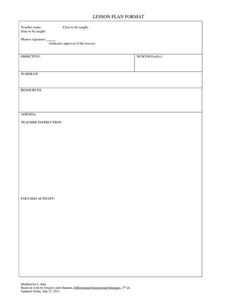 blank lesson plan template lesson plan  gp blank