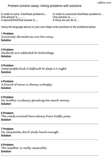Problem Solution Essay Example Topics Sentences