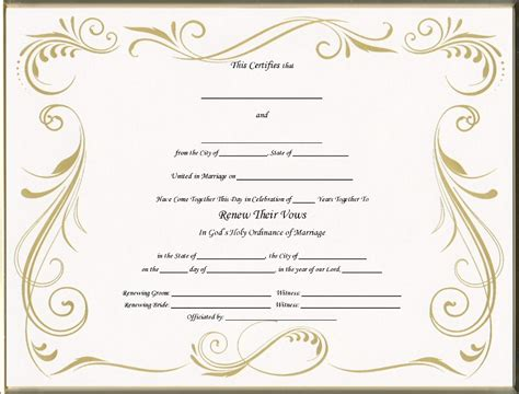 Vow Renewal Certificate Template by Certificates Page