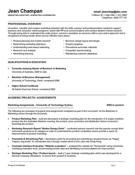 Australian Cv Templates by Marketing Coordinator Assistant Resume Exle Resume