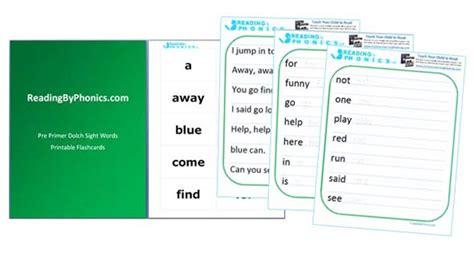 dolch pre primer sight words flash cards worksheets