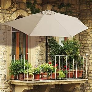 easymaxx balkon sonnenschirm halbrund beige mit 40 uv With französischer balkon mit uv schutz sonnenschirm