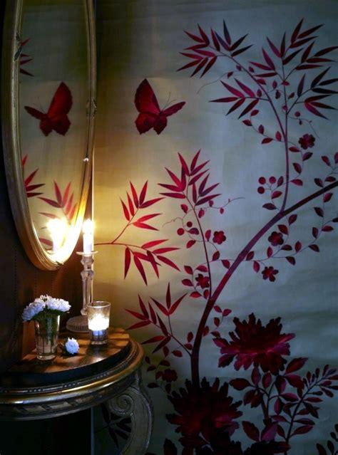 hand painted chinese silk wallpaper  chinoiserie
