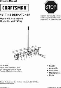 Craftsman 486243152 User Manual 40 Tine Dethatcher Manuals