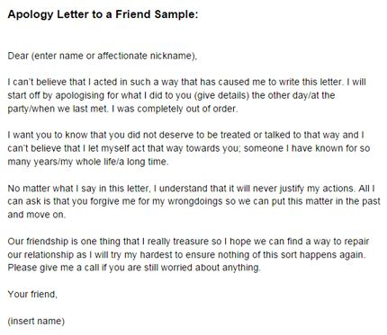 apology letter   friend sample  letter templates