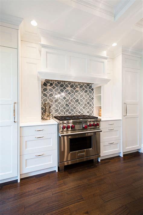 white kitchen  blue gray backsplash tile home bunch