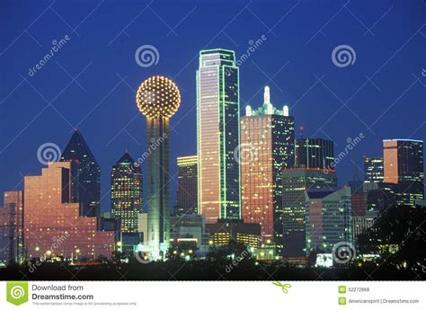 Observation Deck Reunion Tower by Dallas Tx Skyline At Night With Reunion Tower Stock Photo