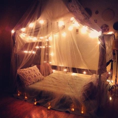 ways  decorate  bedroom  fairy lights wave
