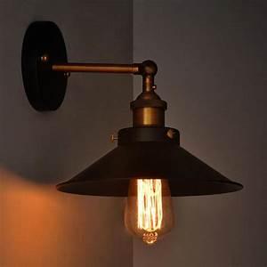 Lampe Murale Industrielle : lampe industrielle black metal umbrella vintage loft mur luminaires r tro applique murale edison ~ Teatrodelosmanantiales.com Idées de Décoration