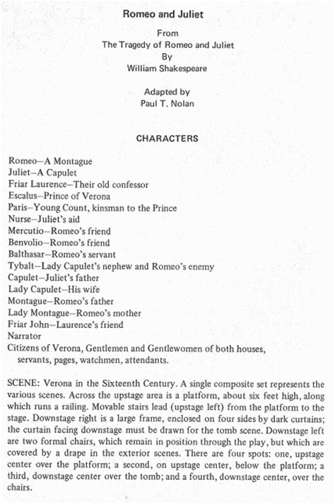 romeo and juliet play script modern shakespeare acting