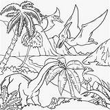Coloring Landscape Drawing Dinosaur Dinosaurs Dino Scenery Printable Flying Volcano Children Pteranodon Drawings Clipart Colouring Cliparts Gigantic Forest Tropical Gliding sketch template