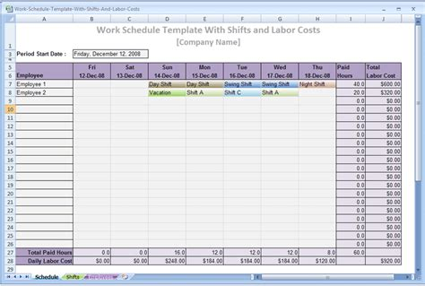 screenshot review downloads  freeware work schedule