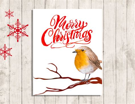 merry christmas robin wall art printable quote instant etsy