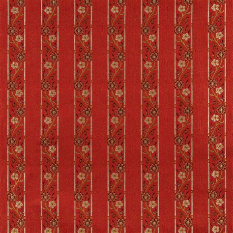 Brocade Upholstery Fabric by A0013g Brown Gold Ivory Striped Floral Brocade