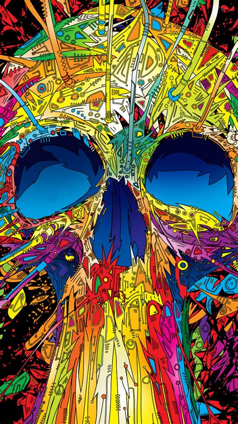 abstract multicolored skull android wallpaper